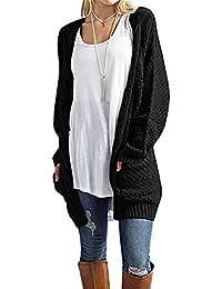 CNFIO Femmes Cardigan Pull Outwear Manches Longues et Décontracté Gilet Long Femme Tricoté Sweaters avec Poches