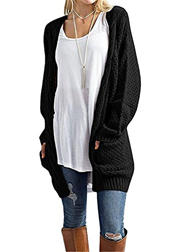 Women's Sweater, Cnfio Ladies Long Cardigan Casual Ribbed Long Sleeve Jumper Knitwear Tunic Cable Knitted Top Open Front Loose Chunky Outwear with Pockets