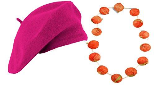 Kostüm des perfekt Französisch mit diesem Barett + ein Halskette von Knoblauchzehe für Erwachsene. Ideal für die Junggesellen-Vie De Garçon oder de jeune - Französisches Barett Kostüm