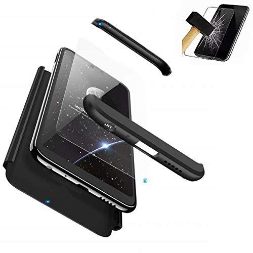 HUOCAI für Samsung Galaxy S9 Plus Hülle 3 in 1 Ultra Dünner Schutz Hülle PC Hartschale Anti-Schock Handy Hülle Stoßfänger Full-Cover Case Matte Schutzkasten Gehärteter Glasfilm(schwarz)