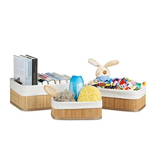 Rechteckige Schublade (Relaxdays Regalkorb Set Bambus 12,5 x 32 x 22 HxBxT, 3er Set Aufbewahrungsboxen rechteckig für Schrank Schublade, natur)