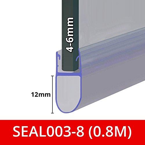 Türdichtung für Dusche oder Badewanne, passend für 4, 5oder 6mm dickes Glas, runde Blasen-Form, Dichtung von Lücken von bis zu 12 mm, 80cm, 90cm, 140cm oder 2m lang, SEAL003