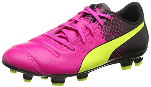 Puma evoPOWER 4 3 Tricks Firm Ground Jr  Unisex Kids  Football Training Shoes  Pink  Pink Glo Safety Yellow Black   5 5 UK  38 5 EU