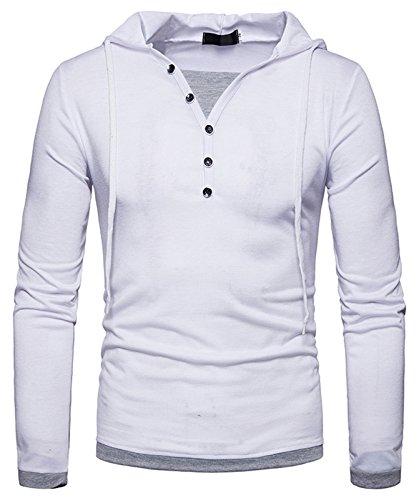 Whatlees Herren Urban Basic Design Langarm T-Shirt Kapuzenpullover mit Henley kragen und Kapuze B925-White-L (Bomber Herren-t-shirt)