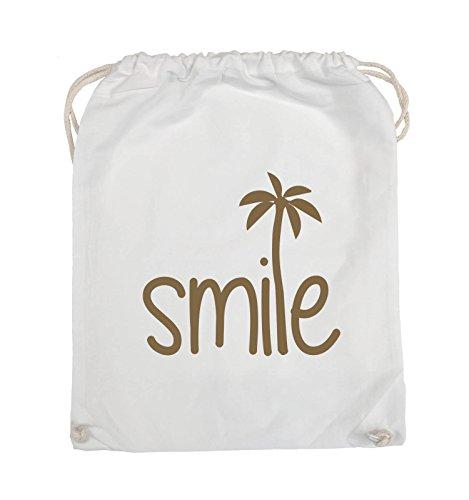 Borse Da Commedia - Smile - Palm - Turnbeutel - 37x46cm - Colore: Nero / Argento Bianco / Marrone Chiaro