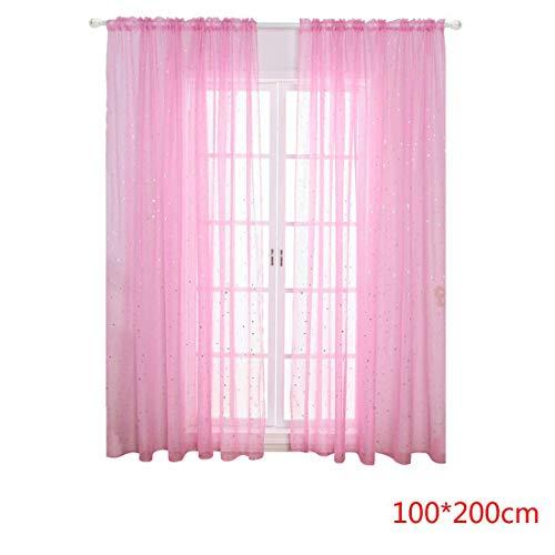 Babysthreath17 Stern Verbandsmull Screening Vorhänge Fenster Tüll-Panel Wohnzimmer Schlafzimmer Semi Sheer drapiert Rod-Taschen Rosa 100 * 200cm