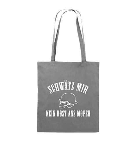Comedy Bags - KEIN ROST ANS MOPED - HELM - Jutebeutel - lange Henkel - 38x42cm - Farbe: Schwarz / Silber Dunkelgrau / Weiss