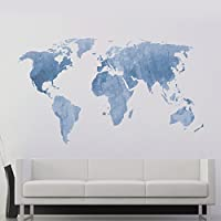 DecalMile Azul Mapa del Mundo Pegatinas de Pared Vinilos Decorativos Dormitorio Salón Oficina