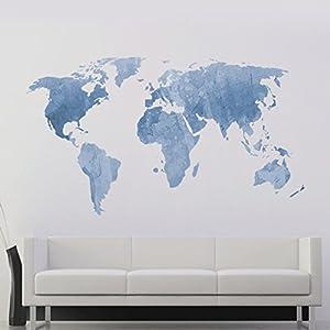 decalmile Mapa del Mundo Pegatinas de Pared Vinilos Decorativas Dormitorio Salón Oficina (Azul, 131 x 75 cm)