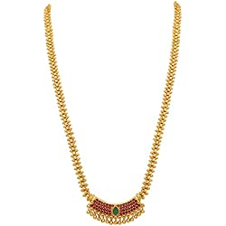 Sasitrends American Diamond Micro Gold Plated Pendant Chain Necklace for Women and Girls