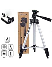 NISHICA 3110 Portable and Foldable Camera - Tripod with Mobile Clip Holder Bracket, Stand with 3-Dimensional Head 150 gm (Black)