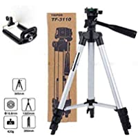 NISHICA 3110 Portable and Foldable Camera - Tripod with Mobile Clip Holder Bracket, Stand with 3-Dimensional Head (Black…