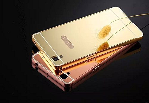 Oppo Neo 7 Luxury Metal Bumper + Acrylic Mirror Back Cover Case For Oppo Neo 7 (Golden) By First 4