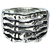 FENICAL Mens Skeleton Skull Punk Ring Vintage Zinc Alloy Antique Silver Retro Finger Rings 21