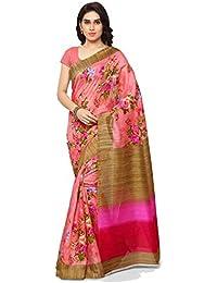 Samskruti Sarees Art Silk Saree (Spink-Floral_Pink)