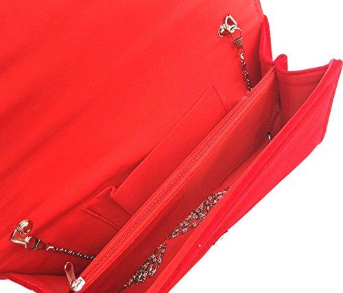 Borse da Donna Velluto Nuziale Sacchetto Avvolge Partito della Frizione per Matrimonio rosso