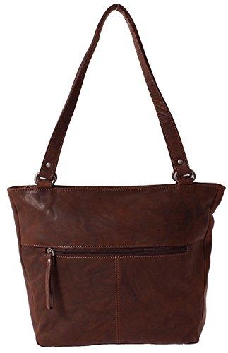 Original Marco VENEZIA Damen Handtasche / Schultertasche aus Echtleder im Italienischen Design, RIMINI in Schwarz, Grau, Braun, Cognac Braun