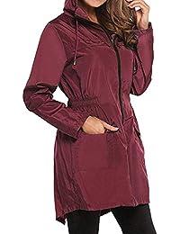 Huixin Chaqueta De Lluvia para Mujer Cazadora Outdoor Impermeable Chaqueta  Parka Funcional Bolsillo con Capucha Cazadora 328484d8473f