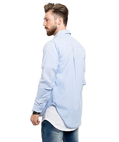 Phoenix Button Down Herren Flanell Hemd Blau Rot Schwarz Weiß Freizeithemd Karohemd Jeanshemd Hellblau