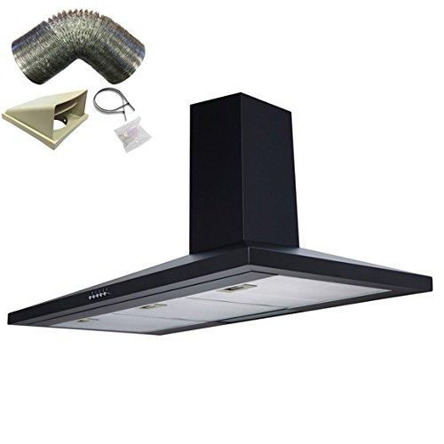 SIA CH71BL 70cm Black Chimney Cooker Hood Kitchen Extractor Fan