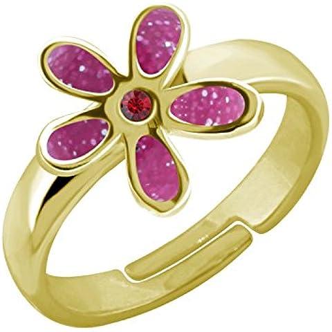 SL-Silver bambini anello misura regolabile per bambini gioielli rosa a forma di fiore in argento 925