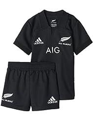 adidas AB Minikit Equipación All Blacks-Selección Rugby Nueva Zelanda, Niño, Negro, 98