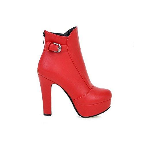 VogueZone009 Damen Reißverschluss PU Leder Metall Schnalle Niedrig-Spitze Stiefel, Rot, 40