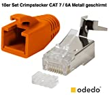 odedo® 10er Pack Crimpstecker orange CAT 7, CAT 7A, CAT 6A für Verlegekabel bis 8mm, 10 GBit...