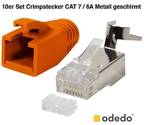 odedo® 10er Pack Crimpstecker orange CAT 7, CAT 7A, CAT 6A für Verlegekabel bis 8mm 10GBit Gigabit Ethernet starre oder flexible Adern 1.2mm-1.45mm RJ45 Stecker Metall geschirmt mit Einfädelhilfe