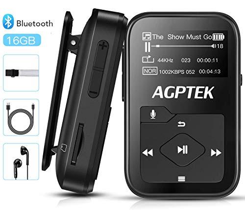 Bluetooth 4.2 MP3 Player 16GB Mini Sport Musik Player mit Clip (+ Sport Armband), 30 Stunden Wiedergabe Musikplayer mit FM Radio, Unterstützt bis 128 GB SD Karte, Schwarz von AGPTEK