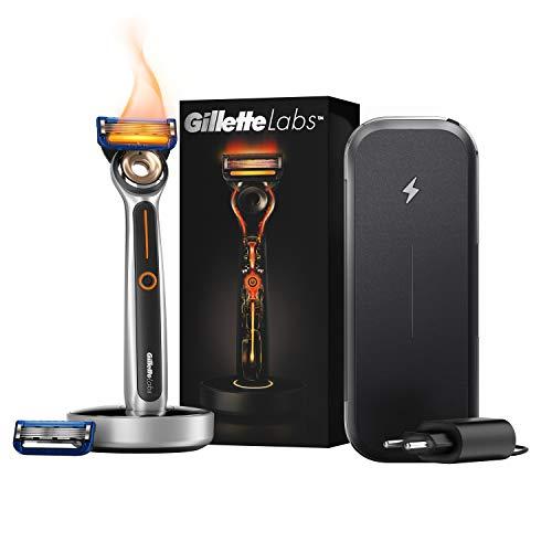 GilletteLabs Heated Razor beheizbarer Rasierer für Männer mit Wärme-Streifen-Technologie Reise-Kit (1 Rasierer, 2 Rasierklingen, 1 Ladestation, 1 Aufladbares Reise-Etui) von Gillette