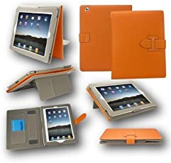 TGK® H Style Leather Case Cover Stand with with Hand Holder Card Slots for Samsung Galaxy Tab A 2016 (10.1 inch) T580, T585, T587 Without S Pen (Orange)