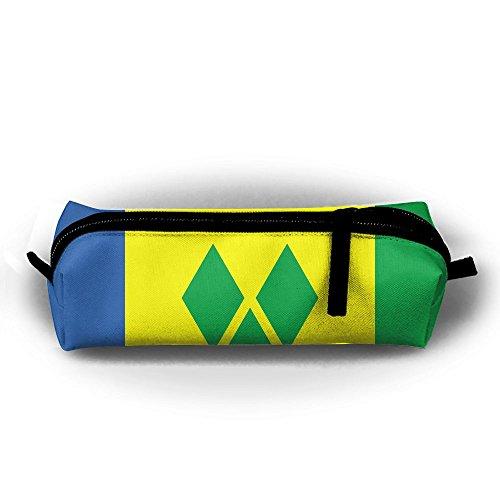 St. Vincent und die Grenadinen Flagge Student Federmappe mit Reißverschluss Kosmetiktasche Tasche klein Münzfach?, für Kinder Teenager und anderen Schulbedarf