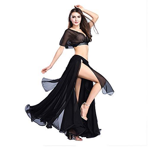 ROYAL SMEELA Bauchtanz Rock Tops Kostüm Set für Frauen Chiffon-Tanzen großer Swing Rock und Tops Outfit Sexy Geschlitzte Kleid Performance-Anzug Einheitsgröße (Tanzen Kostüm Frauen)
