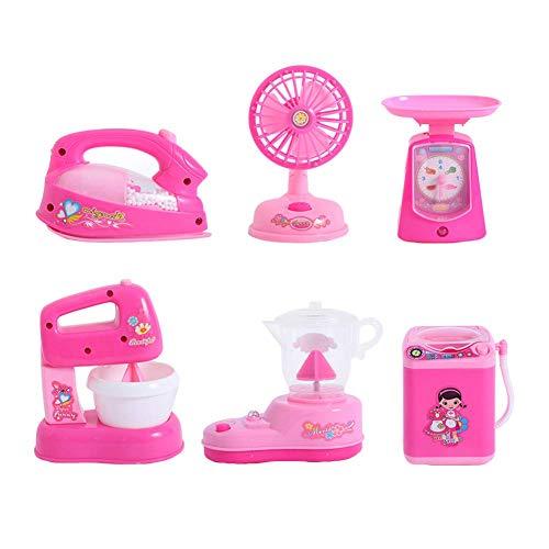 Metyere 1 Satz Kinderspielzeug Elektrisch Waschmaschine Mini Rollenspiel Rollenspiel Eisen Lüfter Entsafter Mixer - Rotierende Einlass
