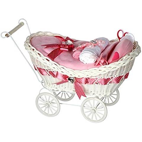 Carrozzina in vimini di lusso, ideale come idea regalo per neonata e festa del bambino, colore: rosa ciliegia, spedizione rapida