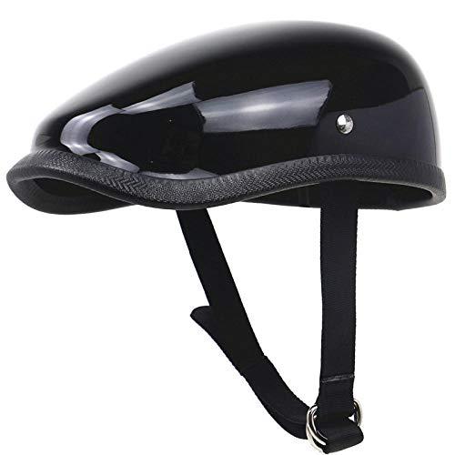 TOUKUI Retro Motorradhelm im japanischen Stil Leichter Motorradhelm aus Fiberglas, 650 g, nur Berets-Helm für erwachsene Fahrer@glänzend schwarz_S