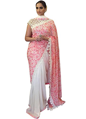 Adorn fashion Sonam Kapoor Pink Georgette Designer Saree  available at amazon for Rs.1600