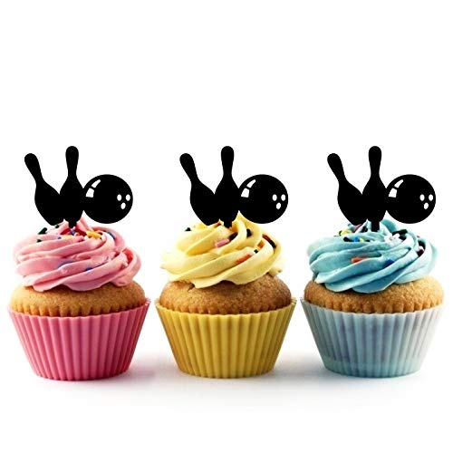 Innovedesire Bowling Bowls Kuchenaufsätze Hochzeit Geburtsta Acryl Dekor Cupcake Kuchen Topper Stand für Kuchen Party Dekoration 10 Stück