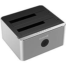 Inateck Aluminium USB 3.0zu SATA dual-bay USB 3.0Festplatte Dockingstation mit offline Clone Funktion für 6,3cm & 8,9cm HDD SSD SATA (SATA I/II/III), Unterstützung UASP & Werkzeuglose (FD2102)
