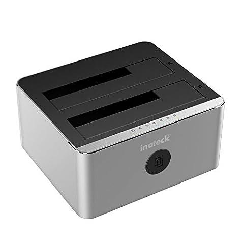 Inateck Aluminium USB 3.0zu SATA dual-bay USB 3.0Festplatte Dockingstation mit offline Clone Funktion für 6,3cm & 8,9cm HDD SSD SATA (SATA I/II/III), Unterstützung UASP & Werkzeuglose