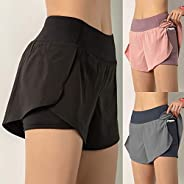 Decdeal Women Running Shorts 2-in-1 with Pocket Wide Waistband Coverage Layer Compression Liner Lounging Sport