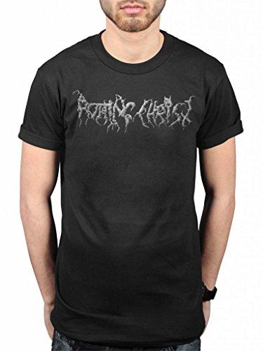 Official Rotting Christ Kata Ton Diamona Eaytoy-Maglietta, colore: nero metallo, con motivo a greca, chiropoti Tolis nero Large