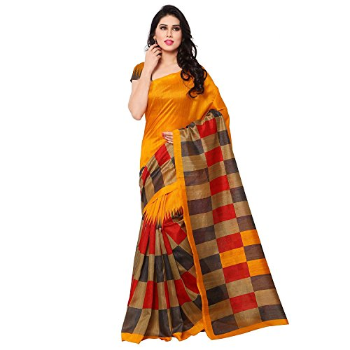 Aaradhya Fashion new sarees for women latest collection party wear Bhagalpuri Saree (checks-yellow) wither blouse piece for girl/girls/girl's/women/womens/women's