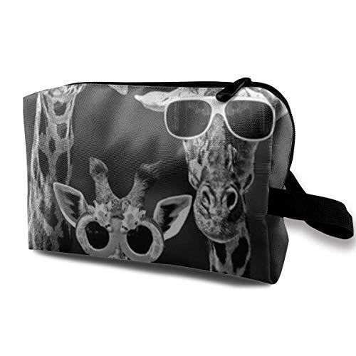 Giraffe Mit Sonnenbrillen Kosmetiktaschen Aufbewahrungstasche Schminktasche Mit Bürstenbeutel Tragbarer Reißverschluss Brieftasche Handtasche Für Frauen Notwendig