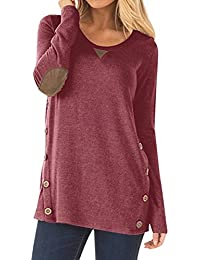 7135e11ad53 NICIAS Womens Side Buttons Long Sleeve Casual Crew Neck Elbow Patched  Sweatshirt Loose T Shirt Blouses