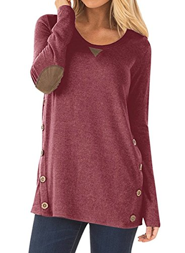 NICIAS Damen Seitliche Tasten Langarmshirt Pullover Lässige Rundhals Sweatshirt Ellenbogen Gepatcht Hemd Lose T Shirt Blusen Tunika Top(Wein, M)