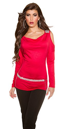 Party-Shirt mit Shoulder-Cutout und Strass-Applikation Rot