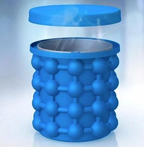 Eiseimer Silikon Eiseimer Eiswürfelform mit Eisbehälter 2in1 Funktion Eiswürfelformen Eiseimer mit Deckel Eiswürfelbereiter und Eiswürfel GefäßKühler für Wein (Blau)