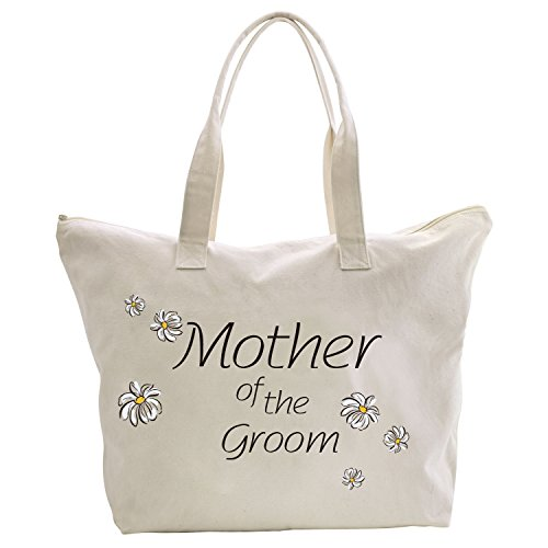 ElegantPark Mother of the Bride Groom Donne Shopper Naturale Tela 100% Cotone Tote Tote donne della spalla Mid borsa Sposa Mothe of the groom
